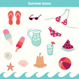 Sistema del vector del icono del verano Foto de archivo libre de regalías