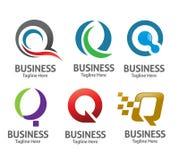 Sistema del vector del logotipo de la letra Q Foto de archivo libre de regalías