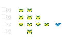 Sistema del vector del logotipo de M y de V Imagenes de archivo