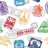 Sistema del vector del modelo inconsútil de los sellos de correo del franqueo del vintage ilustración del vector