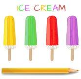 Sistema del VECTOR del polo de hielo Postre dibujado mano: amarillo, verde, rojo, púrpura Con el lápiz realista Imagen de archivo