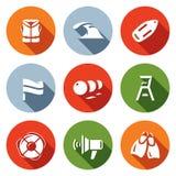 Sistema del vector del rescate en iconos del agua El chaleco salvavidas, tsunami, flotador, bandera, boyas, se eleva ahorrador, s ilustración del vector