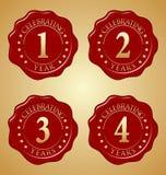 Sistema del vector del sello rojo de la cera del aniversario primero, segundo, tercer, cuarto Foto de archivo libre de regalías