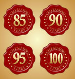 Sistema del vector del sello rojo 85o, 90.o, 95.o, 100o de la cera del aniversario Imagen de archivo
