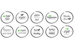 Sistema del vector del sistema de iconos de orgánico, sanos, vegano, vegetariano, crudo, OGM, comida libre del gluten, símbolos g Fotos de archivo libres de regalías