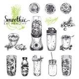 Sistema del vector del Smoothie Ejemplos sanos de las comidas en estilo del bosquejo Fotos de archivo libres de regalías