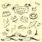 Sistema del vector del viaje del verano y emblemas y símbolos de las vacaciones Imágenes de archivo libres de regalías