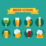 Sistema del vector del vidrio de cerveza Fotos de archivo
