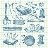 Sistema del vector del ejemplo de costura dibujado mano de los elementos libre illustration