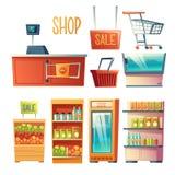 Sistema del vector del elemento del diseño interior del supermercado libre illustration