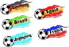 Sistema del vector del fútbol/del fútbol de los mejores equipos nacionales Fotos de archivo