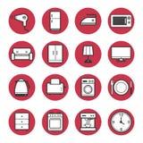 Sistema del vector fijado iconos de los aparatos electrodomésticos Fotos de archivo