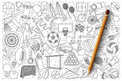 Sistema del vector del garabato del deporte stock de ilustración