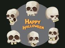 Sistema del vector Halloween de la historieta del cráneo en fondo Foto de archivo
