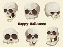 Sistema del vector Halloween de la historieta del cráneo en fondo Imagenes de archivo