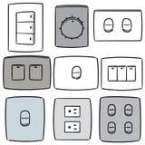 Sistema del vector del interruptor y del enchufe eléctricos stock de ilustración