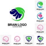 Sistema del vector del logotipo del cerebro ilustración del vector