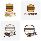Sistema del vector del logotipo de la hamburguesa de la comida Diseño del emblema de la hamburguesa Plantilla del vector del logo stock de ilustración