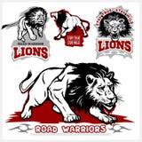 Sistema del vector del logotipo, del remiendo, del icono, o de la insignia temático ilustrado del deporte de los leones con diver Fotografía de archivo