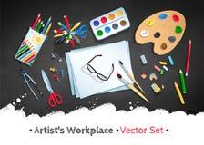 Sistema del vector del lugar de trabajo del artista de la visión superior libre illustration