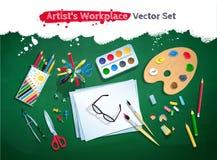 Sistema del vector del lugar de trabajo del artista de la visión superior stock de ilustración
