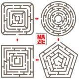 Sistema del vector Maze Elements aislado cuatro Fotos de archivo libres de regalías