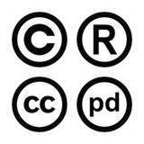 Sistema del vector del public domain de la marca registrada de los derechos reservados y de los símbolos creativos de los campos  libre illustration