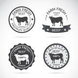 Sistema del vector una etiqueta de la vaca Imagenes de archivo