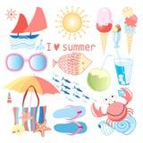 Sistema del verano de diversos objetos Fotos de archivo libres de regalías