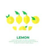 Sistema del verano de fruta del limón con la hoja libre illustration