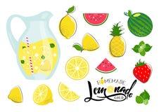 Sistema del verano de la limonada ilustración del vector