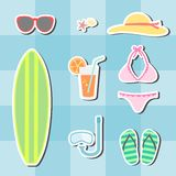 Sistema del verano de la playa Imagen de archivo libre de regalías