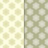 Sistema del verde verde oliva de modelos inconsútiles florales Foto de archivo