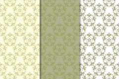 Sistema del verde verde oliva de ornamentos florales Modelos inconsútiles Imagenes de archivo