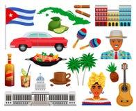Sistema del viaje de Cuba stock de ilustración