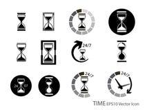 Sistema del vidrio de la arena y del icono del contador de tiempo Fotografía de archivo