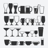 Sistema del vidrio del cóctel y del alcohólico Imagen de archivo
