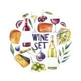 Sistema del vino de la acuarela Fondo redondo de la tarjeta Fotografía de archivo libre de regalías