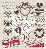 Sistema del vintage de elementos del diseño del corazón Imagen de archivo