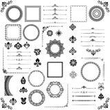 Sistema del vintage de elementos horizontales, cuadrados y redondos del vector