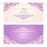Sistema del vintage de fronteras ornamentales de la plantilla y de fondo modelado Tarjeta de felicitación elegante del diseño de