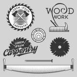 Sistema del vintage de logotipos de la carpintería, de etiquetas y de elementos del diseño existencias libre illustration