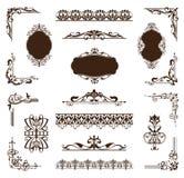 Sistema del vintage de ornamentos y de etiquetas engomadas ilustración del vector