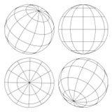 Sistema del wireframe del globo Fotografía de archivo