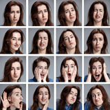 Sistema del woman& joven x27; retratos de s con diversas emociones Fotos de archivo