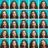 Sistema del woman& joven x27; retratos de s con diversas emociones felices imágenes de archivo libres de regalías
