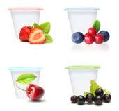 Sistema del yogur de fruta foto de archivo