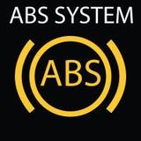 Sistema dell'ABS Singola icona piana gialla su fondo nero Illustrazione di vettore Segni d'avvertimento del cruscotto Fotografia Stock Libera da Diritti