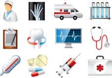 Sistema detallado iconos médicos Fotos de archivo