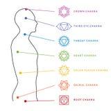 Sistema di Chakra del corpo umano Centri di energia illustrazione di stock